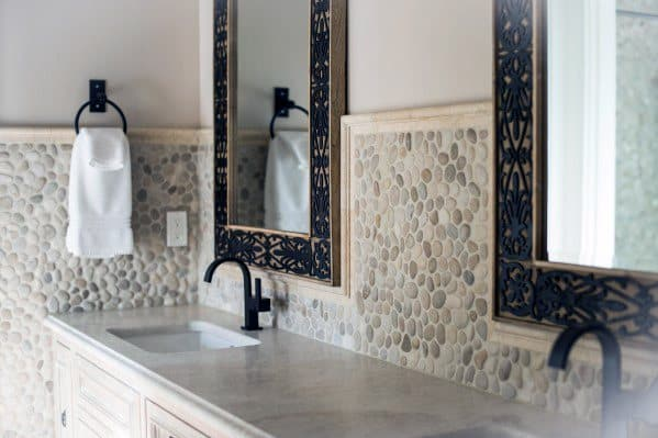 Cream Pebble Stones Bathroom Backsplash Ideas With Black Faucet Fixtures