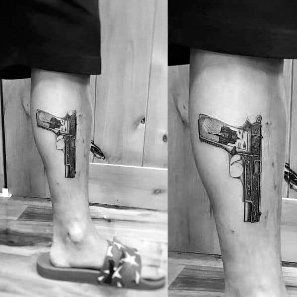 Creative 1911 Tattoos For Guys On Leg
