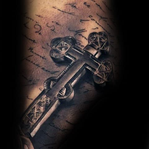 creative-3d-mens-shaded-black-and-grey-3d-cross-back-tattoo