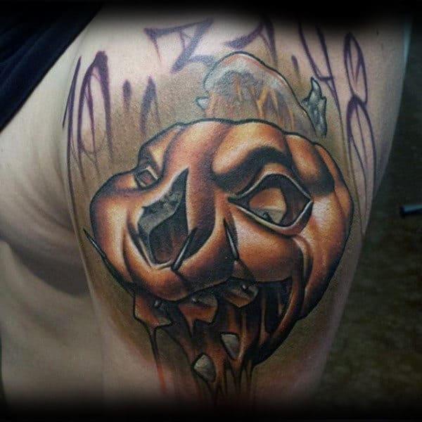Creative 3d Pumpkin New School Guys Upper Arm Tattoos