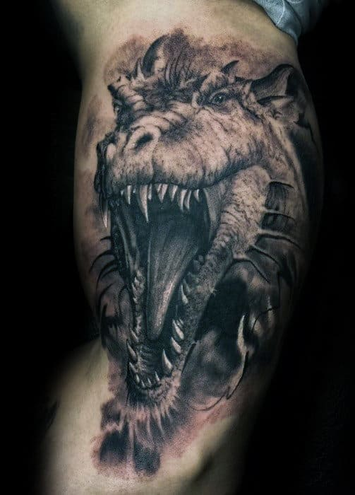 Creative 3d Roaring Dragon Mens Arm Tattoos