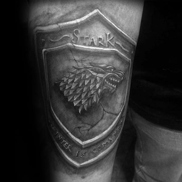 Creative 3d Stone Stark Shield Thigh Game Of Thrones Tattoos For Men