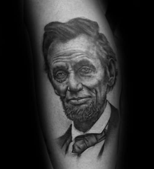 Creative Abraham Lincoln Tattoos For Men On Leg Calf