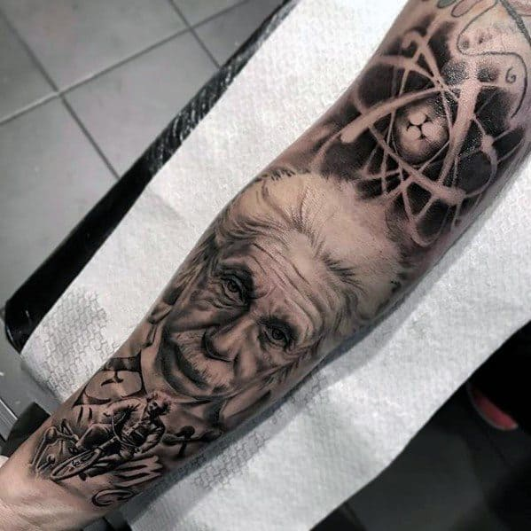 Creative Albert Einstein Tattoos For Men On Forearm