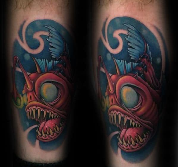 Creative Angler Fish Tattoos For Men Leg