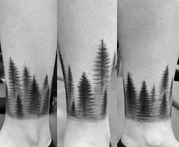Creative Ankle Band Shaded Black And Grey Ink Pine Tree Forest Tattoos For Men
