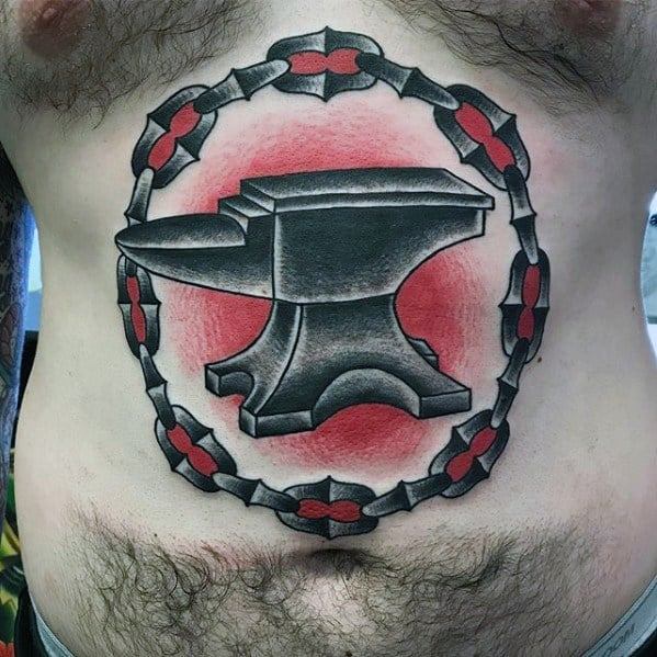 Creative Anvil Tattoos For Men On Stomach
