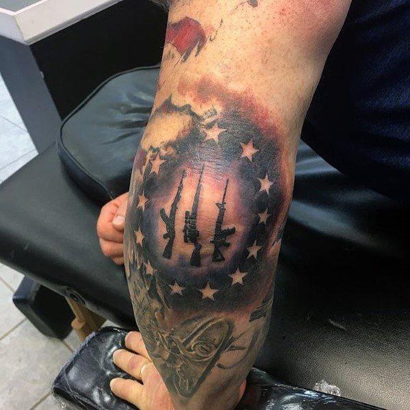 Creative Ar 15 Tattoos For Guys On Elbow