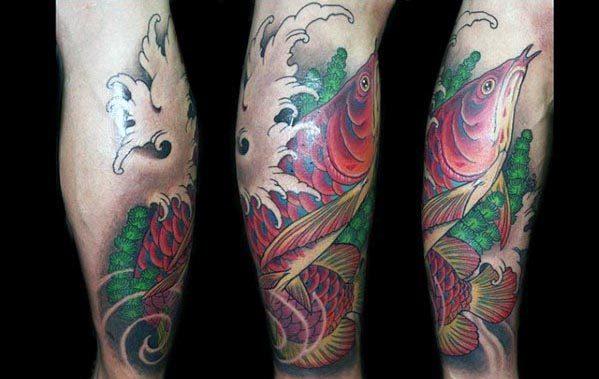 Creative Arowana Tattoos For Men On Leg With Japanese Design