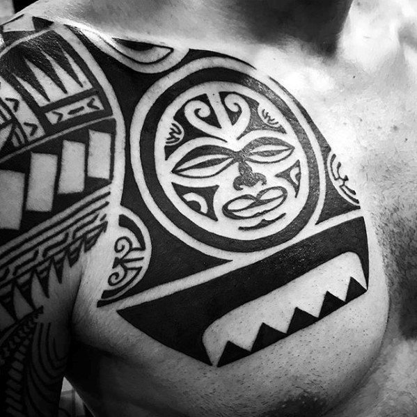 Creative Awesome Hawaiian Chest Tribal Tattoos For Men