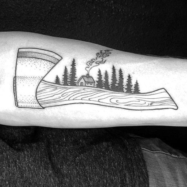 Creative Axe With Cabin In The Woods Inner Forearm Tattoos For Men