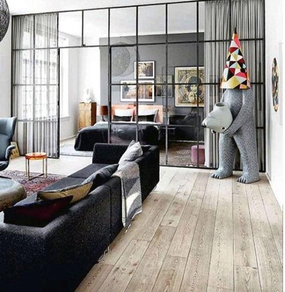 Creative Bachelor Pad Living Room With Hardwood Floors