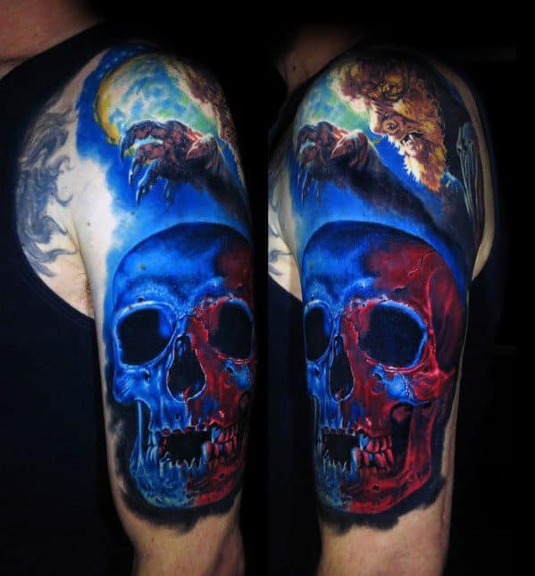 Creative Badass Red And Blue Skull Tattoos For Men