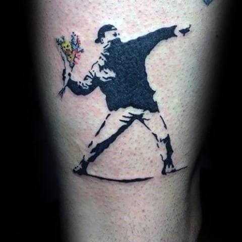 Creative Banksy Art Mens Male Throwing Flowers Tattoo Designs