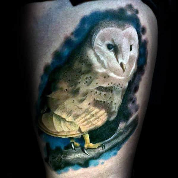 Creative Barn Owl Watercolor Mens Thigh Tattoos