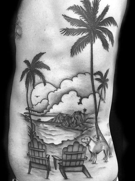 Creative Beach Tattoos For Men On Ribs