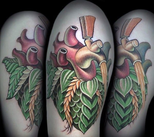 Creative Beer Hops Heart 3d Tattoos For Men