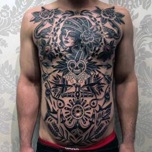 Creative Black Ink Traditional Tattoos For Guys On Chest
