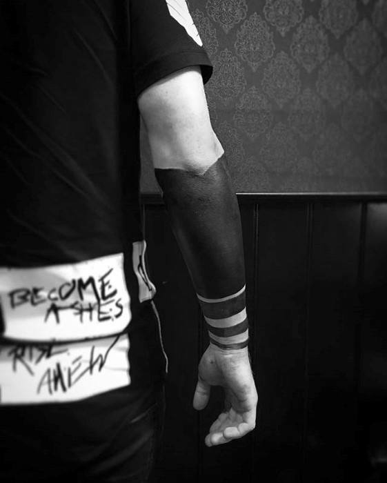 Creative Blackout Forearm Band Sleeve Tattoos For Men