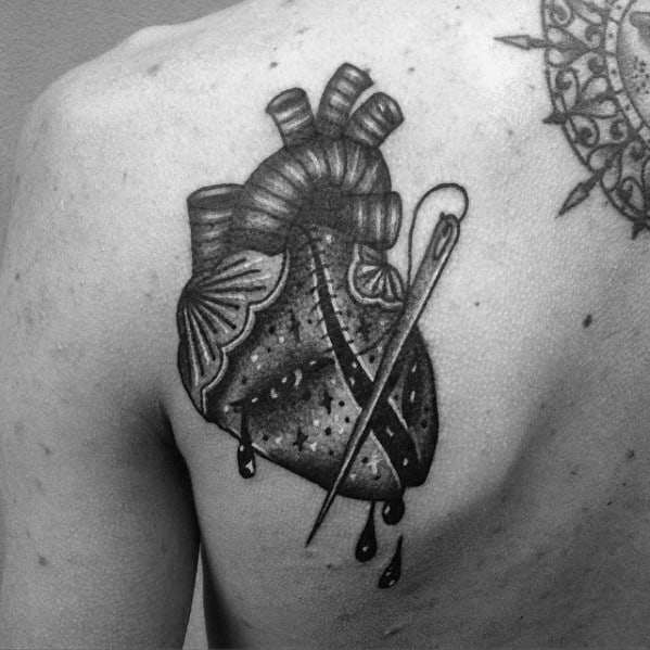 Creative Broken Heart Tattoos For Men Shoulder Blade