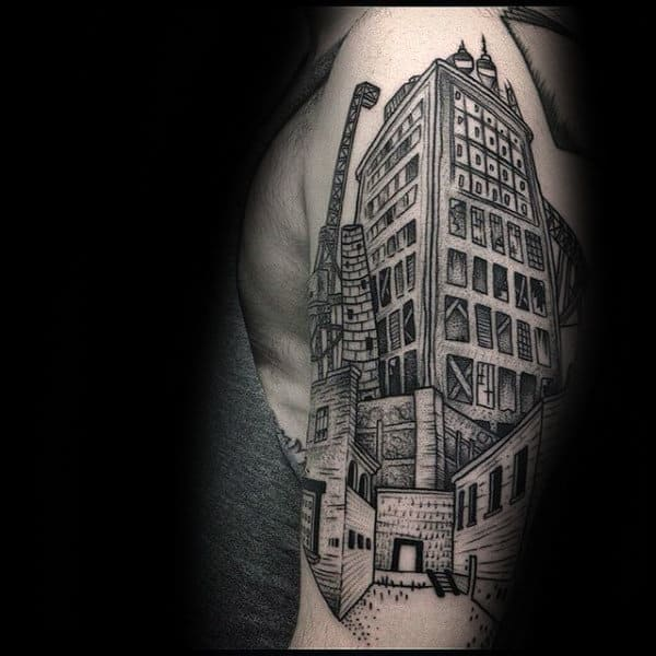 Creative Building Dotwork Mens Arm Tattoos