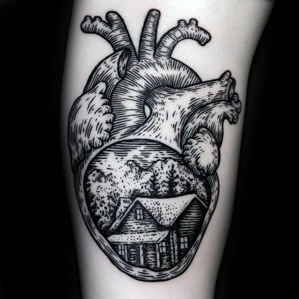 Creative Cabin In Anatomical Heart Arm Tattoo For Men