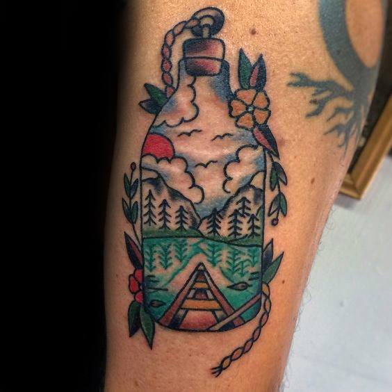 Creative Canoe Tattoos For Men