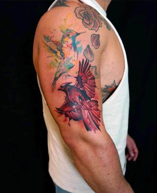 Creative Cardinal Watercolor Guys Upper Arm Tattoos
