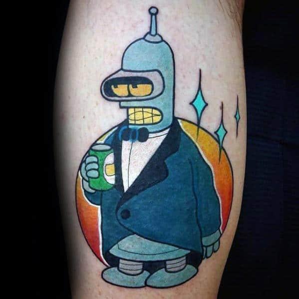 Creative Cartoon Futurama Bender Tattoos For Men