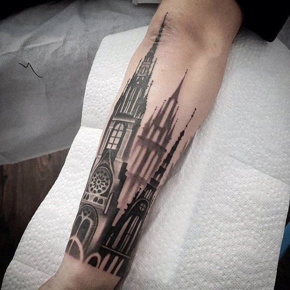 Creative Cathedral Tattoos For Men