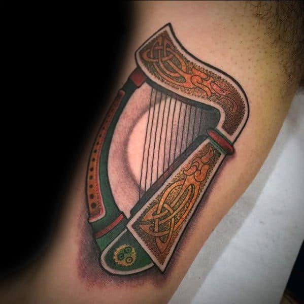 Creative Celtic 3d Inner Arm Bicep Harp Tattoos For Men