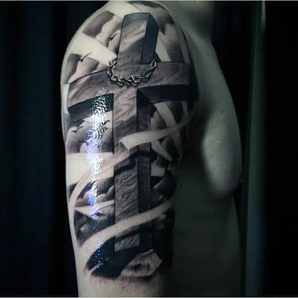 Creative Christian Tattoos Men Upper Arm Cross