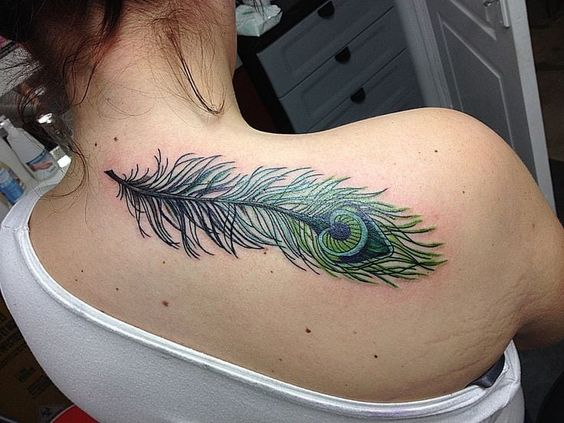 Creative Color Peacock Feather Tattoo