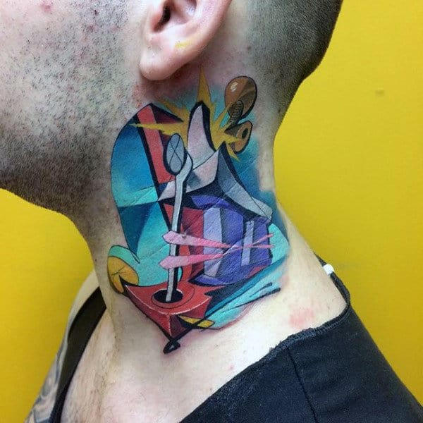 Creative Colorful Guys Graffiti Neck Tattoos