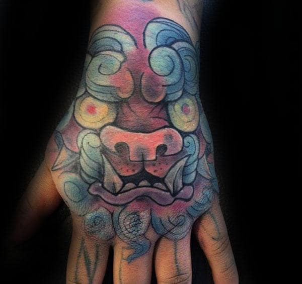 Creative Colorful Male Foo Dog Hand Tattoos