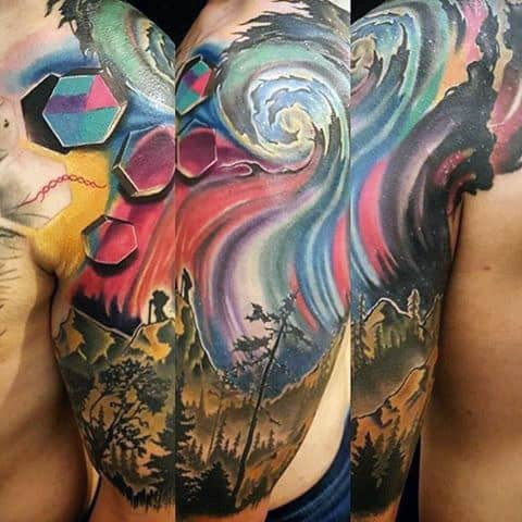 Creative Colorful Mens Northern Lights Sleeve Tattoos