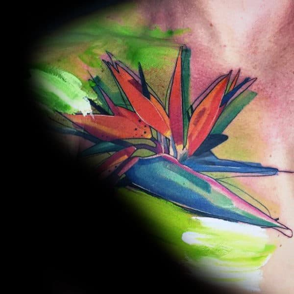 Creative Colorful Watercolor Flower Mens Collar Bone Tattoo