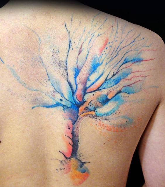 Creative Colorful Watercolor Tree Back Tattoos