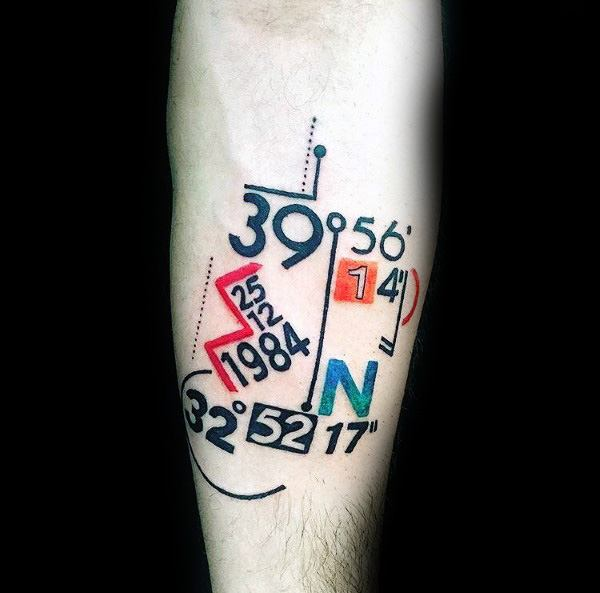Creative Coordinate Tattoos For Guys