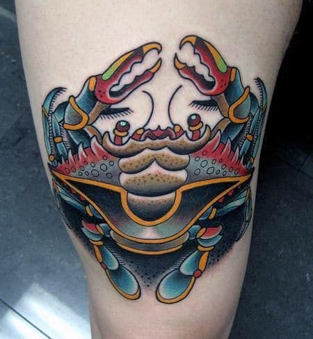 Creative Crab Colorful Male Thigh Tattoo Design Ideas