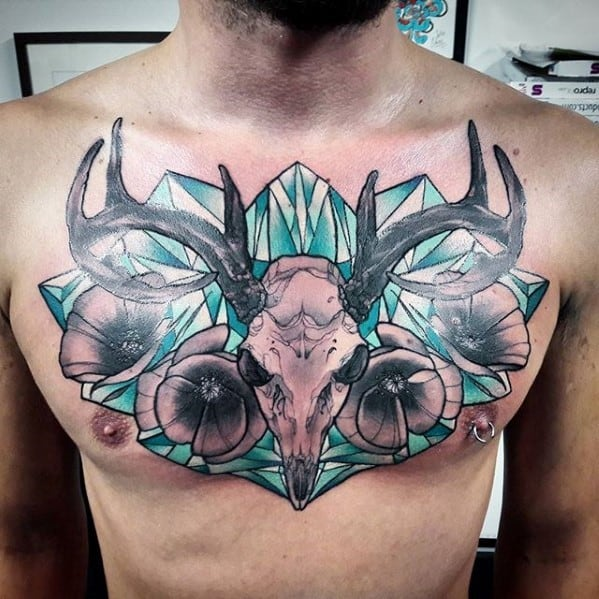 Creative Crystal Animal Skull Mens Chest Tattoo Design Ideas
