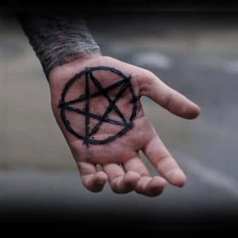 Creative Dark Black Pentagram Tattoo Male Palms