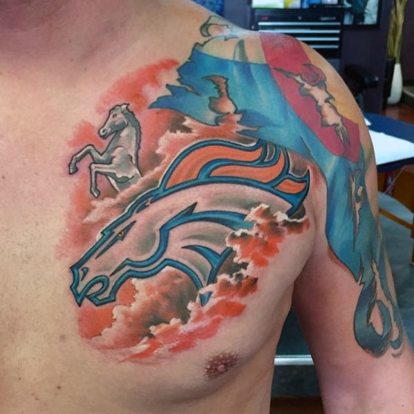 Creative Denver Broncos Guys Chest Tattoos
