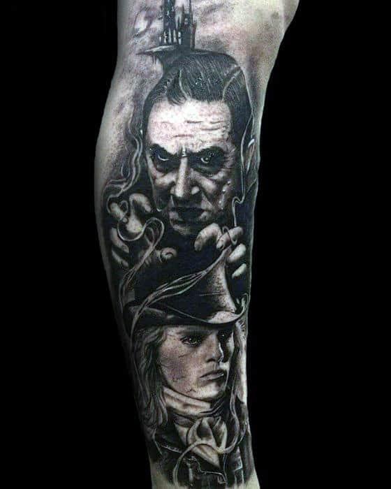 Creative Dracula Black And Grey Ink Shaded Leg Sleeve Tattoos For Guys