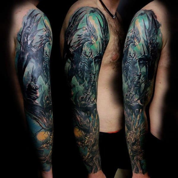 Creative Dragon Watercolor Guys Full Arm Tattoos