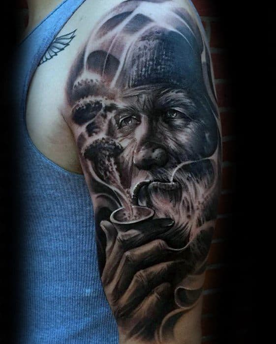 Creative Epic Arm Man With Pipe Tattoos For Men