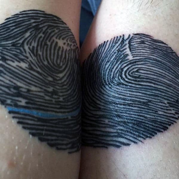 Creative Fingerprint Thin Blue Line Mens Arm Tattoo