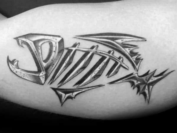 Creative Fish Skeleton Guys Tattoos On Bicep