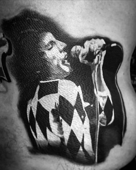 Creative Freddie Mercury Singer Rib Cage Side 3d Tattoos For Men