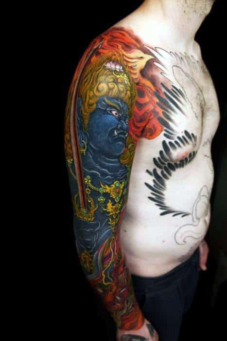 Creative Fudo Myoo Tattoos For Men Full Arm Sleeve